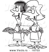 Vector of a Cartoon Cartoon Black and White Outline Design of Friendly Ladies at a Bake Sale - Outlined Coloring Page Drawing by Toonaday