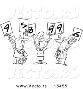Vector of a Cartoon Cartoon Black and White Outline Design of Judges Holding up Numbers - Coloring Page Outline by Toonaday