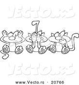 Vector of a Cartoon Cartoon Black and White Outline Design of No Evil Cats - Coloring Page Outline by Toonaday