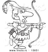 Vector of a Cartoon Cartoon Black and White Outline Design of Robin Hood Aiming - Outlined Coloring Page Drawing by Toonaday