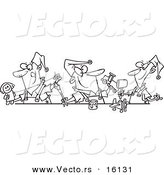 Vector of a Cartoon Cartoon Black and White Outline Design of Three Christmas Elves Making Toys - Outlined Coloring Page Drawing by Toonaday