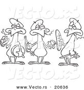 Vector of a Cartoon Cartoon Black and White Outline Design of Three French Hens - Coloring Page Outline by Toonaday