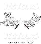 Vector of a Cartoon Cartoon Black and White Outline Design of Two Men Engaged in Tug of War - Coloring Page Outline by Toonaday