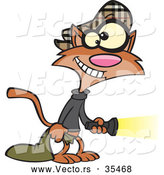 Vector of a Cartoon Cat Burglar with a Flashlight and Bag of Stolen Goods by Toonaday