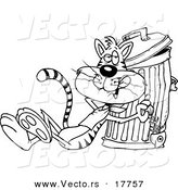 Vector of a Cartoon Cat Eating a Luxurious Fish Bone from the Garbage - Outlined Coloring Page by Toonaday