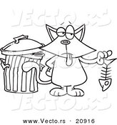 Vector of a Cartoon Cat Holding a Fish Bone - Coloring Page Outline by Toonaday