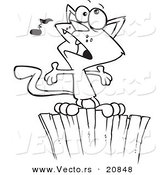 Vector of a Cartoon Cat Singing on a Fence - Coloring Page Outline by Toonaday