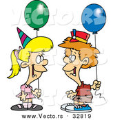 Vector of a Cartoon Caucasian Birthday Boy and Girl with Balloons by Ron Leishman