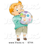 Vector of a Cartoon Caucasian Boy Holding a Ball by BNP Design Studio