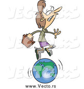 Vector of a Cartoon Caucasian Businesswoman Running on a Globe by Toonaday