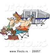 Vector of a Cartoon Caucasian Couple Relaxing at a Campsite near Their Tent Trailer by Toonaday