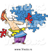 Vector of a Cartoon Caucasian Man Trying to Assemble a Puzzle by Toonaday