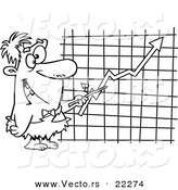 Vector of a Cartoon Caveman Executive Pointing to a Chart - Coloring Page Outline by Toonaday