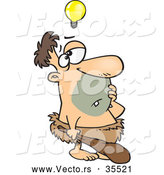 Vector of a Cartoon Caveman Thinking with a Light Bulb Floating Above His Head by Toonaday