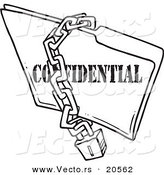 Vector of a Cartoon Chain and Lock over a Confidential Folder - Coloring Page Outline by Toonaday