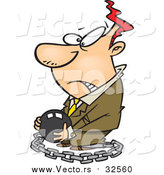 October 16th, 2015: Vector of a Cartoon Chained White Businessman Carrying a Ball by Ron Leishman