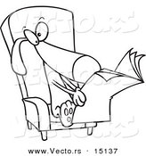 Vector of a Cartoon Chair and Reading the News - Coloring Page Outline by Toonaday