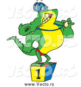 Vector of a Cartoon Champion Alligator Swimmer Standing on a Podium and Showing off His Medal by Toonaday