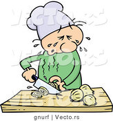 Vector of a Cartoon Chef Cutting Onions While Crying by Gnurf