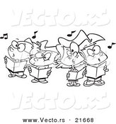 Vector of a Cartoon Choir Kids Singing - Outlined Coloring Page by Toonaday