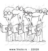 Vector of a Cartoon Choir of Seniors - Outlined Coloring Page by Toonaday