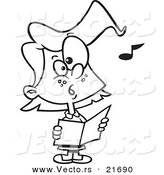 Vector of a Cartoon Chorus Girl Singing - Outlined Coloring Page by Toonaday