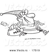 Vector of a Cartoon Christmas Elf Delivering Santa Mail - Coloring Page Outline by Toonaday
