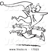 Vector of a Cartoon Christmas Elf Leaping - Coloring Page Outline by Toonaday
