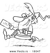 Vector of a Cartoon Christmas Elf Running with a Letter for Santa - Outlined Coloring Page by Toonaday