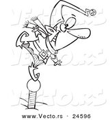 Vector of a Cartoon Christmas Elf Standing on a Pole and Keeping a Look out - Outlined Coloring Page by Toonaday