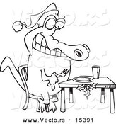 Vector of a Cartoon Christmas Gator Anticipating Dinner - Coloring Page Outline by Toonaday
