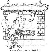 Vector of a Cartoon Christmas Girl Waiting for Santa at the Fire Place - Coloring Page Outline by Toonaday