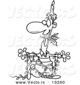 Vector of a Cartoon Christmas Man in Lights, with a Candle and Holly - Outlined Coloring Page by Toonaday