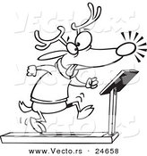 Vector of a Cartoon Christmas Reindeer Running on a Treadmill - Outlined Coloring Page by Toonaday