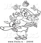 Vector of a Cartoon Christmas Santa Juggling Gifts on a Reindeer - Outlined Coloring Page by Toonaday