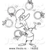 Vector of a Cartoon Christmas Woman Juggling Five Golden Rings - Outlined Coloring Page by Toonaday