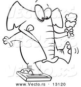 Vector of a Cartoon Chubby Elephant Holding an Ice Cream Cone and Standing on a Scale - Coloring Page Outline by Toonaday