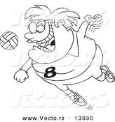 Vector of a Cartoon Chubby Female Volleyball Player Jumping to Hit the Ball - Coloring Page Outline by Toonaday