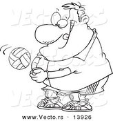 Vector of a Cartoon Chubby Male Volleyball Player Hitting a Ball - Coloring Page Outline by Toonaday