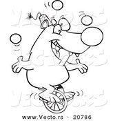 Vector of a Cartoon Circus Bear Juggling on a Unicycle - Coloring Page Outline by Toonaday