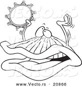 Vector of a Cartoon Clam Playing a Clam Playing a Tambourine - Coloring Page Outline by Toonaday