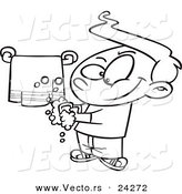 Vector of a Cartoon Clean Boy Washing His Hands - Outlined Coloring Page by Toonaday