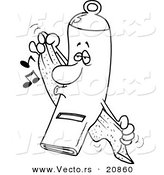 Vector of a Cartoon Clean Whistle Towel Drying - Coloring Page Outline by Toonaday