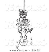 Vector of a Cartoon Climber Suspended from Rope - Coloring Page Outline by Toonaday