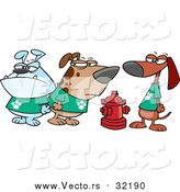 Vector of a Cartoon Clique of Dogs by a Fire Hydrant by Toonaday