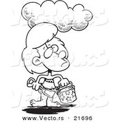 Vector of a Cartoon Cloud over a Girl at a Beach - Outlined Coloring Page by Ron Leishman