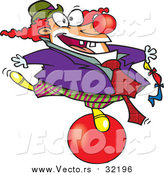 Vector of a Cartoon Clown Balancing on a Red Ball by Toonaday