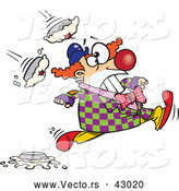 Vector of a Cartoon Clown Running from Pies Being Thrown at Him by Toonaday