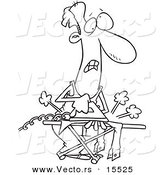 Vector of a Cartoon Clueless Man Ironing Laundry - Coloring Page Outline by Toonaday