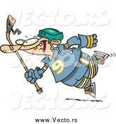 Vector of a Cartoon Clumsy Hockey Player by Toonaday